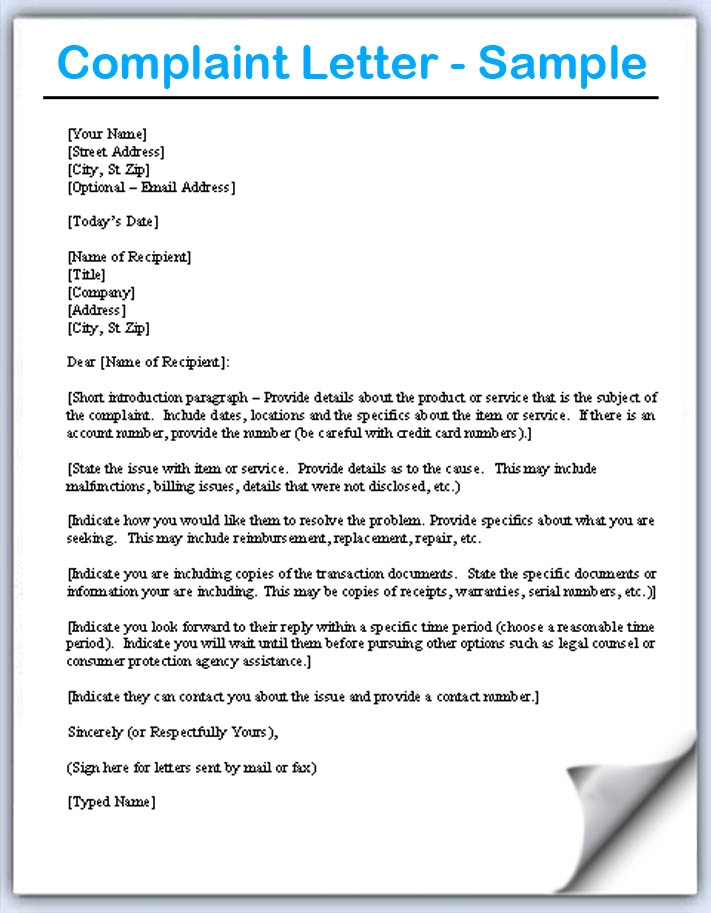 Complaint letter all information about how to write a complaint with these complaint letter formats you will never need to stress over composing the letter spiritdancerdesigns Choice Image
