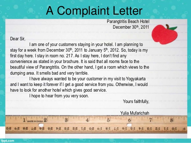 sample letters of complaints