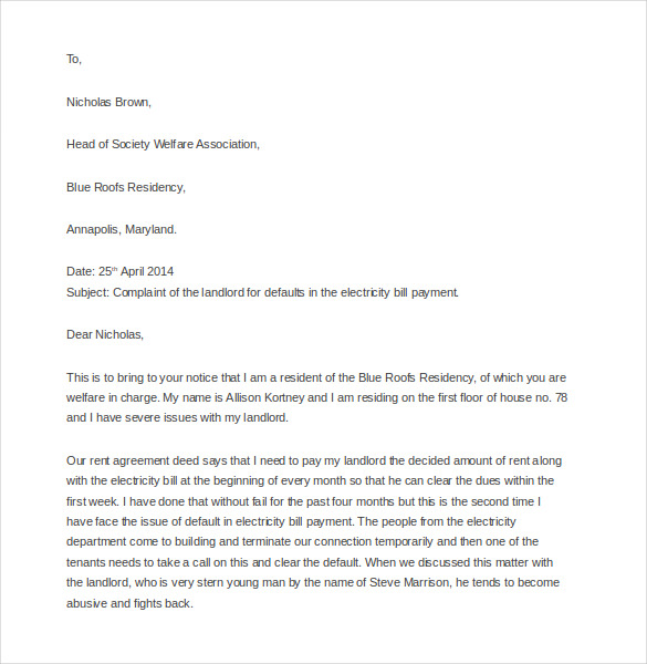 Business Complaint Letter example