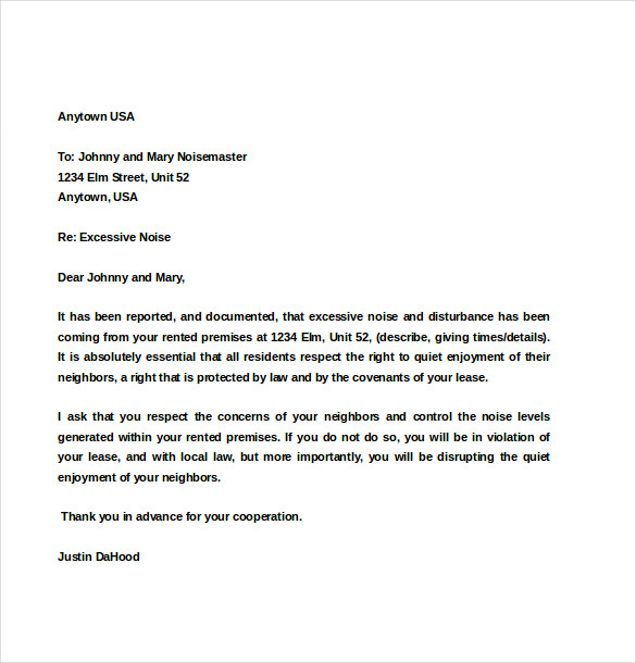 apartment noise complaint letter sample