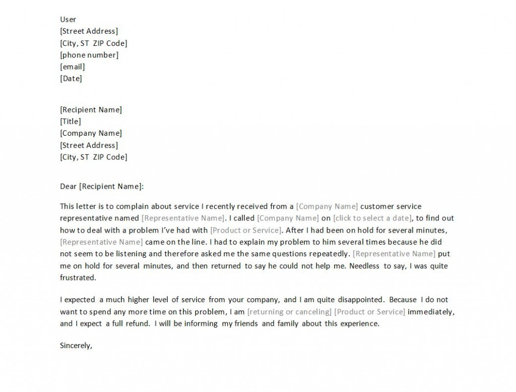 Complaint letter sample free template complaint letter reply to customer complaint letter sample expocarfo Images