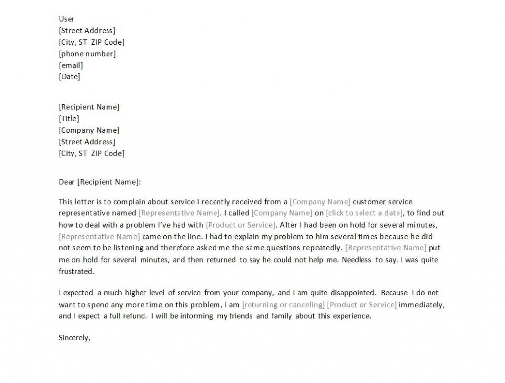 Complaint Letter Sample Free Template | Complaint Letter