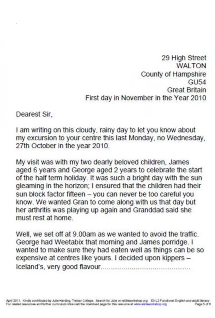complaint letter format in english