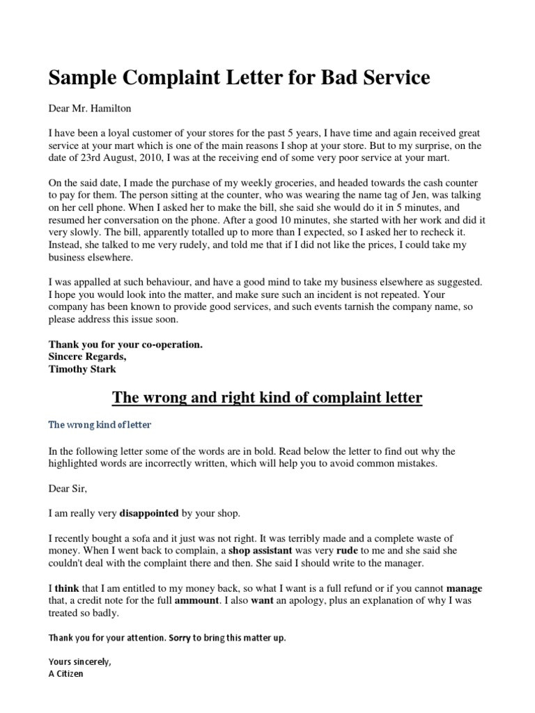 Complaint Letter example for bad service