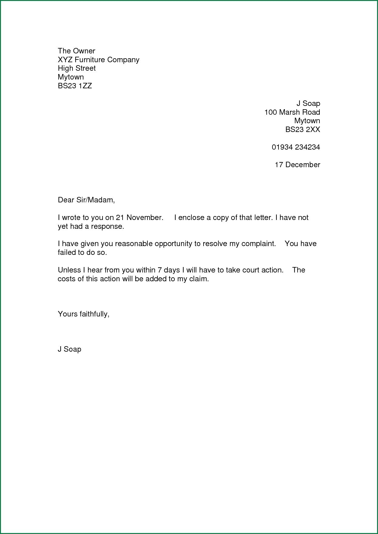 Sample of Customer Complaint Letter for Bad Service