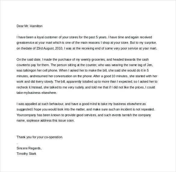 Complaint Letter about Manager