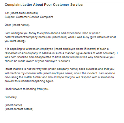 example of a complaint letter for bad customer service