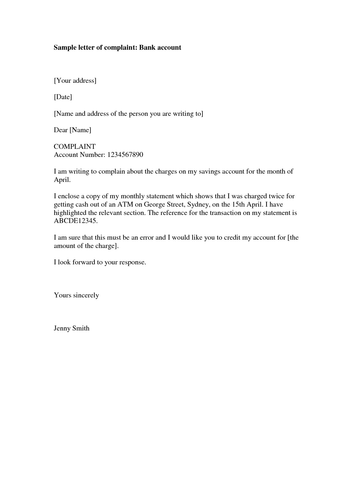 Complaint Letter for Bank Manager about Irresponsibility of Employees