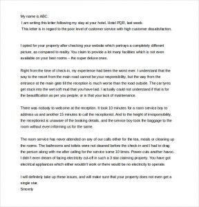 Complaint Letter to Company for Poor Service
