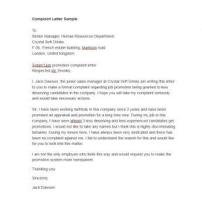 Complaint Letter Sample For Employee