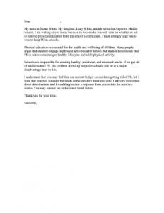 Complaint Letter Sample For School