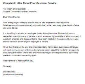 Complaint Letter for Bad Service Sample