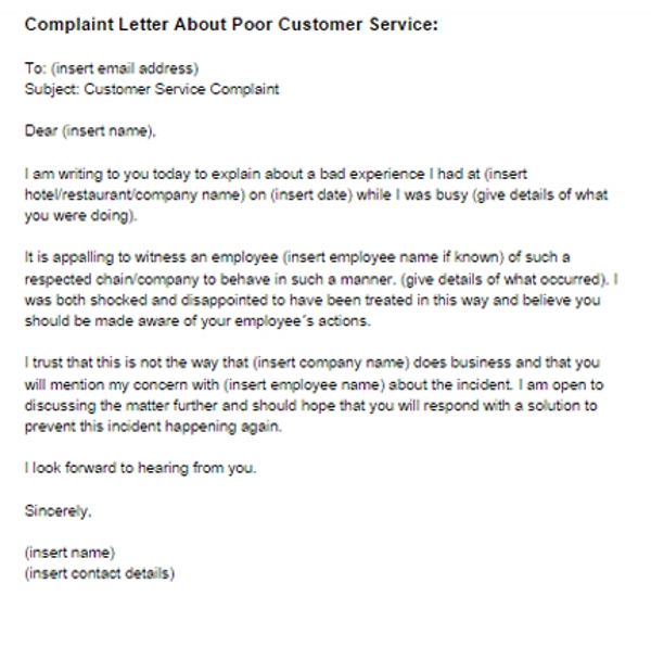Complaint Letter for Bad Service Sample
