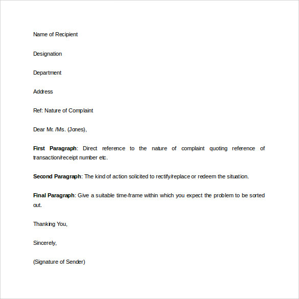Complaint Letter to Bank Sample