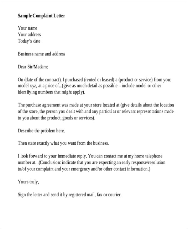 Business Complaint Letter Sample