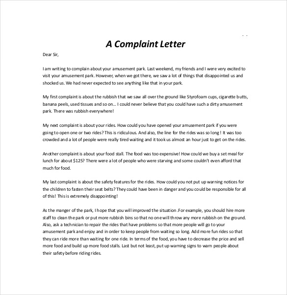 get free sample of business complaint letter complaint letter