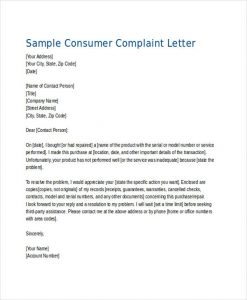Customer Complaint Letter Example