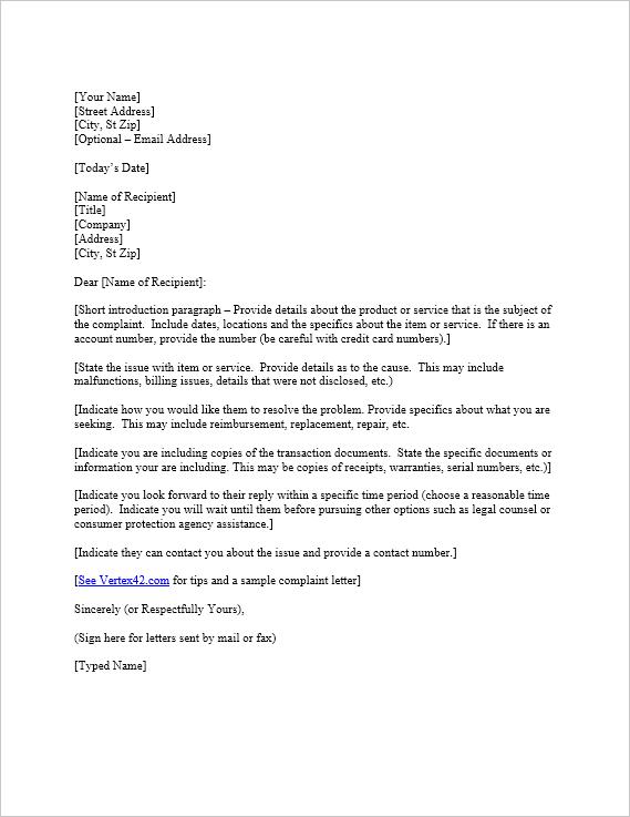 complaint-letter-template