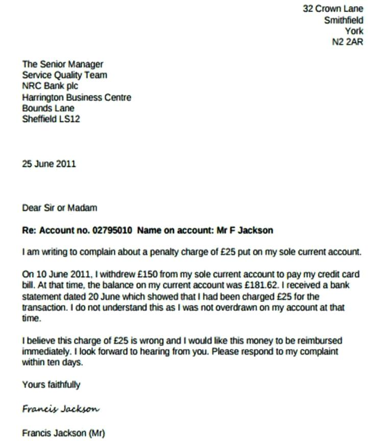complaint letter against bank charges