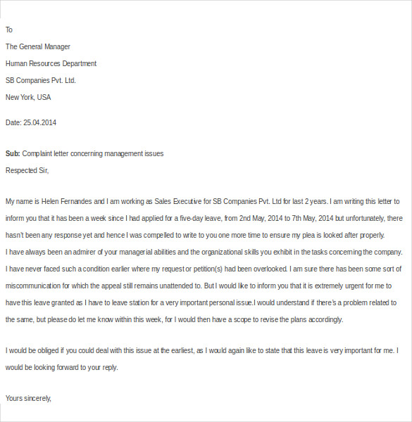 Free Complaint Letter Template For Employee Download Complaint Letter