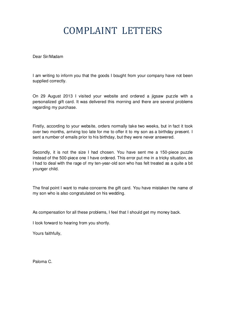 Complaint Letter to Company for Sending Damaged Goods