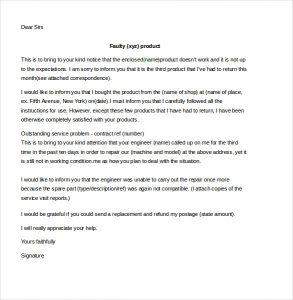 Customer Complaint Letter Sample