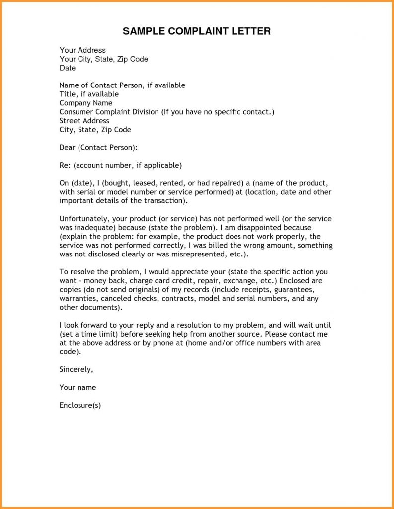 Reply Complaint Letter Template