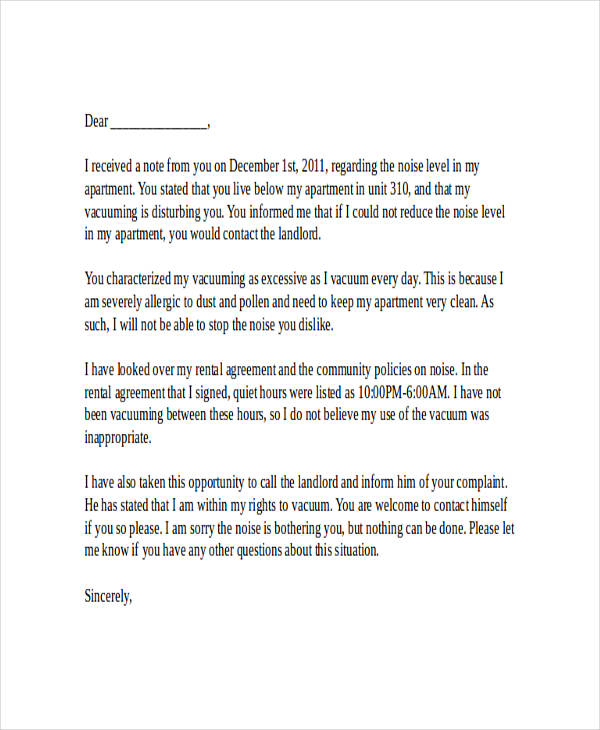 Reply To Noise Complaint Letter