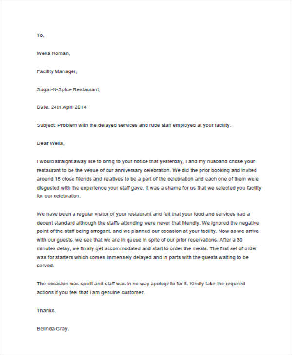 4+ Sample of Response Letter to Complaint Templates