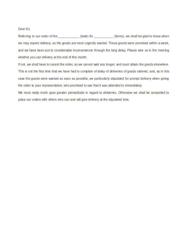 Reply Complaint Letter Delay Delivery