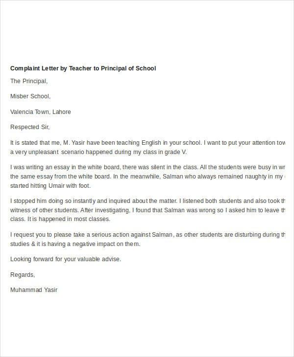 Complaint Letter About Teacher Behavior