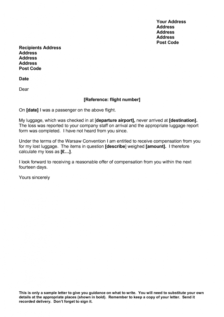 Complaint Letter to Airline Lost Luggage
