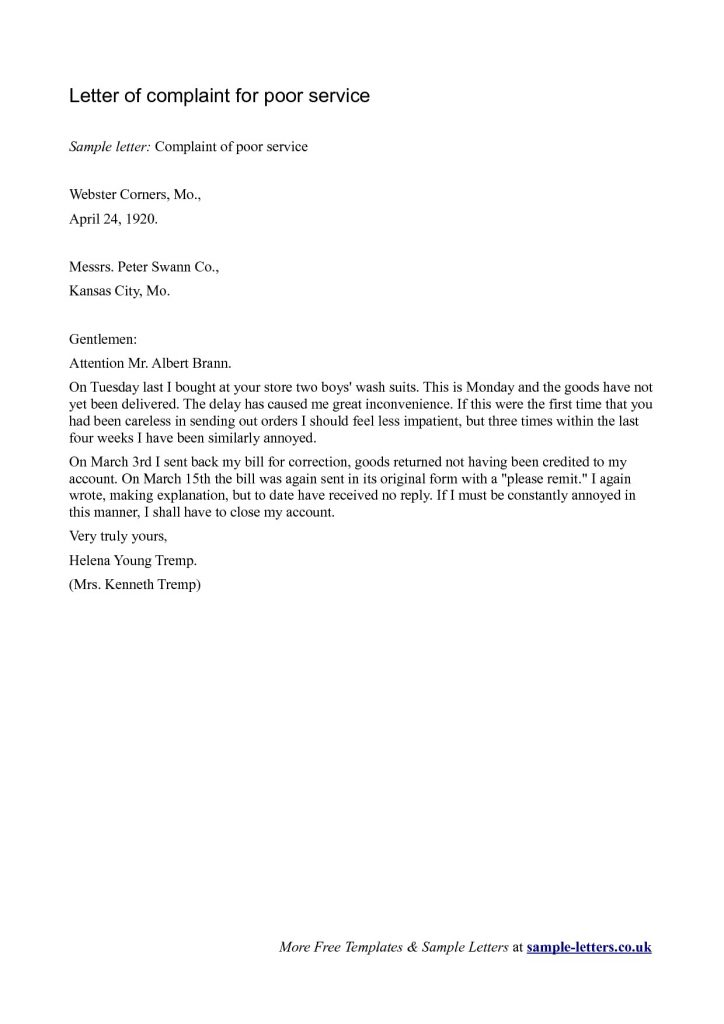 Complaint Letter to Hospital for Poor Service