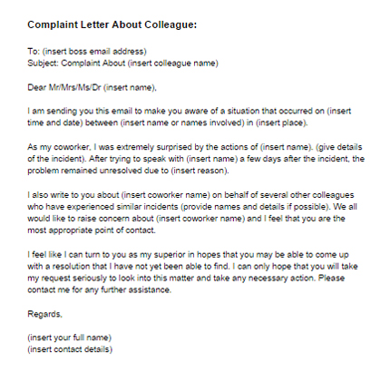 how to write a complaint letter against manager