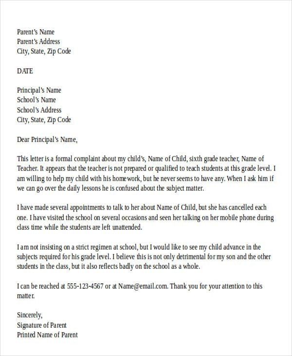 complaint letter against a student