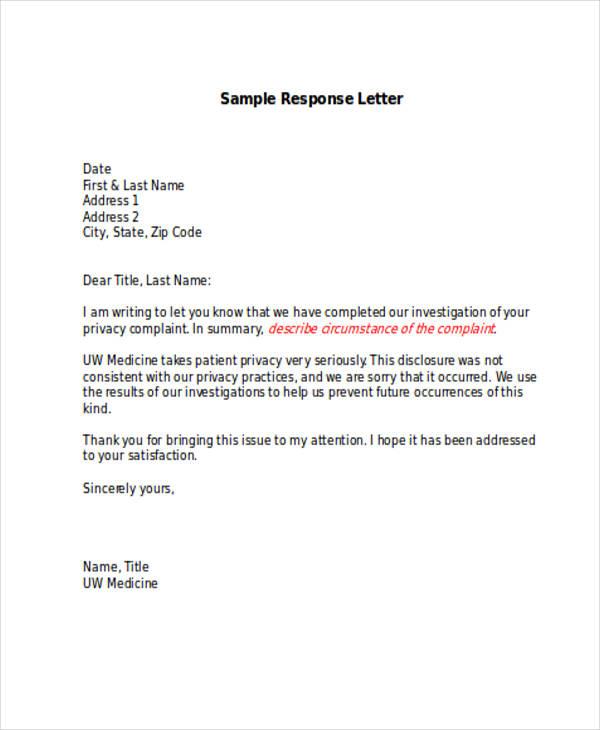 Sample Of Response Letter To Complaint Complaint Letter