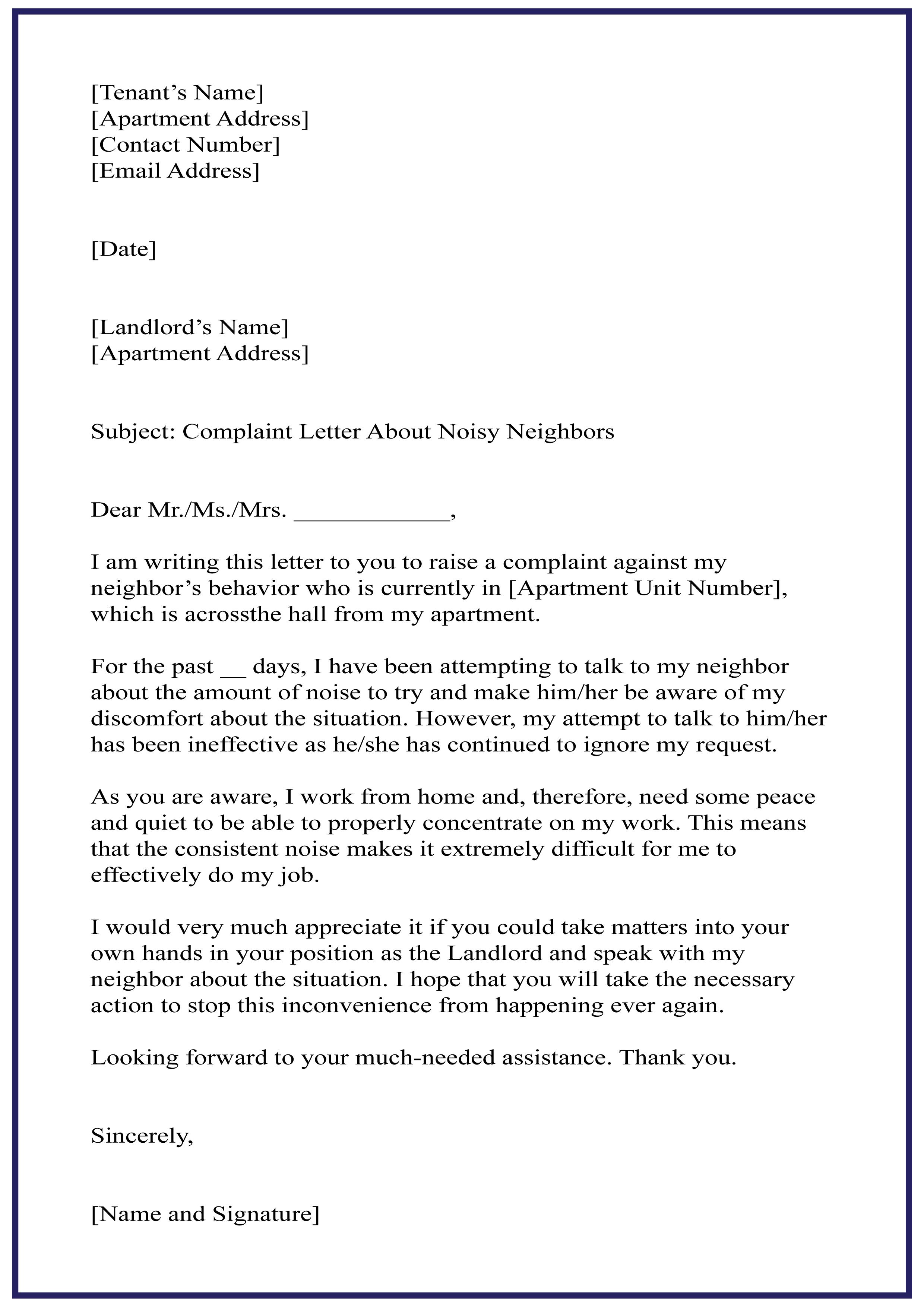 Letter of Complaint Sample