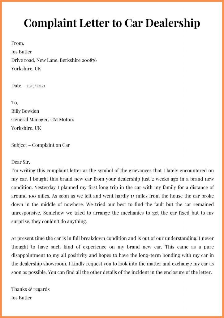 Complaint Letter to Car Dealership