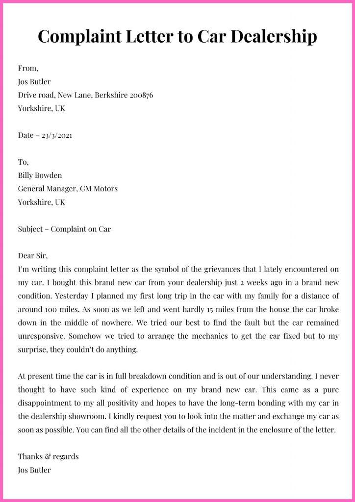Complaint Letter to Car Dealership Template