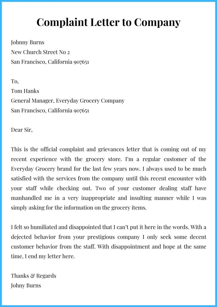 Complaint Letter to Company