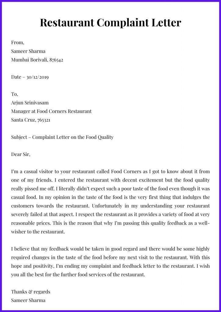 Restaurant Complaint Letter