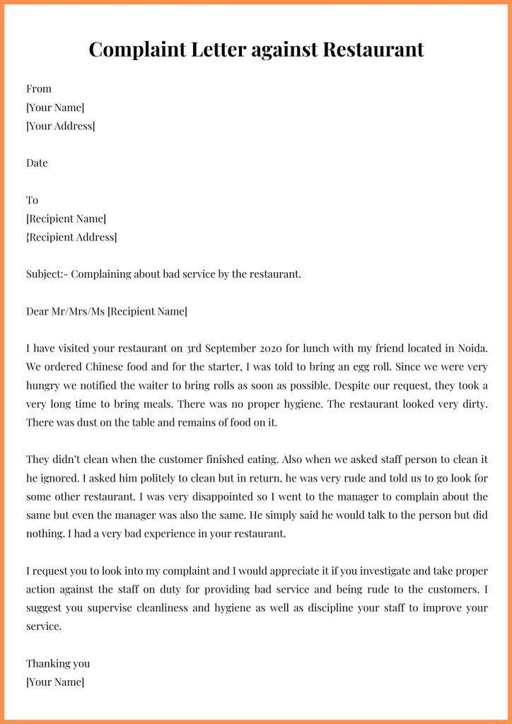 Complaint Letter against Restaurant